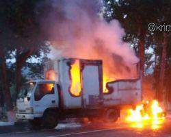 Соцсети: в Приамурье во время проведения работ загорелась машина дорожников