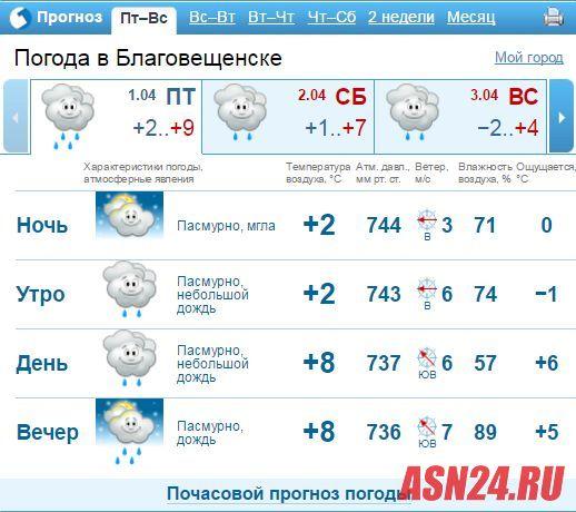 погода на неделю благовещенск амурской обл наличии